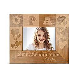 Casa Vivente Bilderrahmen mit Gravur für Opa, Motiv Herzen, Personalisiert mit Namen, Rahmen aus Holz, Vatertagsgeschenk