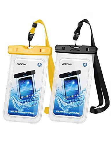 Mpow Handytasche Wasserdicht【2 Stück】, DOPPELT VERSIEGELT, wasserdichte Handyhülle, Staubdicht für iPhone11/iPhone X/XR/XS/XS MAX/8/7/Galaxy S10/S9/S8/S7/Mate 20/P30/P20/P10 bis 6, 5 Zoll