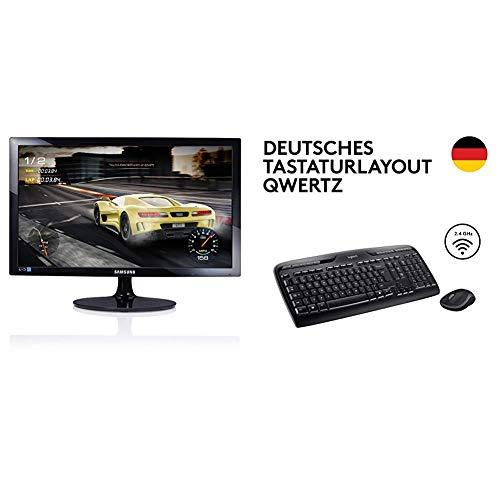 Samsung S24D330H 59,9 cm (24 Zoll) Monitor (VGA, HDMI, 1ms Reaktionszeit, 1920 x 1080 Pixel) schwarz & Logitech MK330 Kabellose Tastatur und Maus - QWERTZ deutsches Tastaturlayout - Schwarz