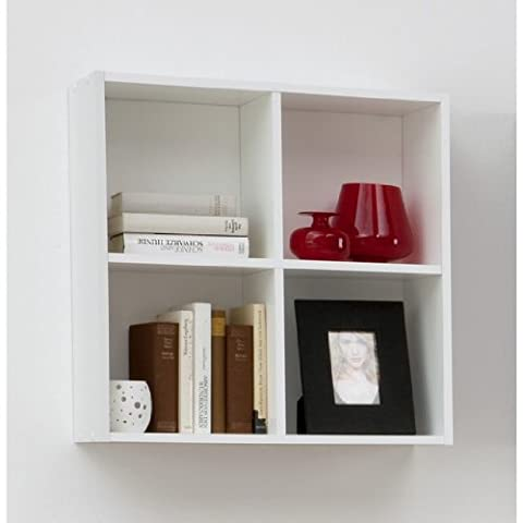 BARI Four Compartment Wall Mounted Shelf Unit for CD / DVD / Books / Ornaments in White Colour