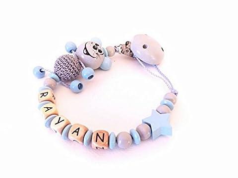 Attache tétine, attache sucette personnalisé perles en bois souris 3D bleu