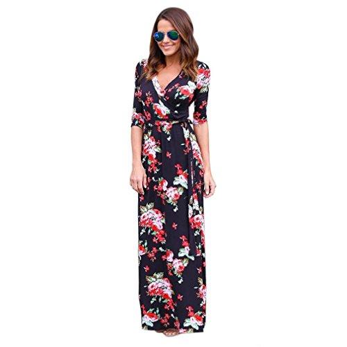 Damenkleid von LMMVP, sexy, klassisch, lang, mit Blumenmotiven, Ärmeln und V-Ausschnitt. L schwarz