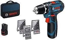 Bosch Professional GSR 12V-15 – Atornillador a batería (2 baterías x 2,0 Ah, 12V, set de 39 accesorios, en maletín de lona) electrico