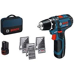 Bosch Professional GSR 12V-15 Perceuse sans fil avec 39 pièces Set d'accessoires, 2 batteries 2,0 AH, Chargeur de batterie avec pochette de rangement, 12 V