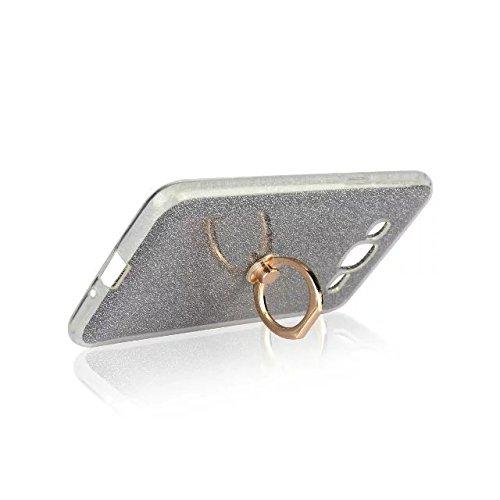 Luxus Bling Sparkle Style Case, Soft TPU [Silikon] Flexible Glitter Rückseitige Abdeckung mit Fingerring Stand für Samsung Galaxy J2 Prime ( Color : Pink ) Black