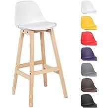 Woltu® # 5092x Taburete de bar Juego de 2Silla de bar (Madera y Plástico) con respaldo silla cocina diseño silla Selección de Colores 1 pieza Weiss