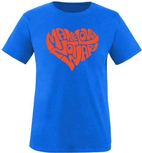 EZYshirt® Make love not war Herren Rundhals T-Shirt Royal/Orange