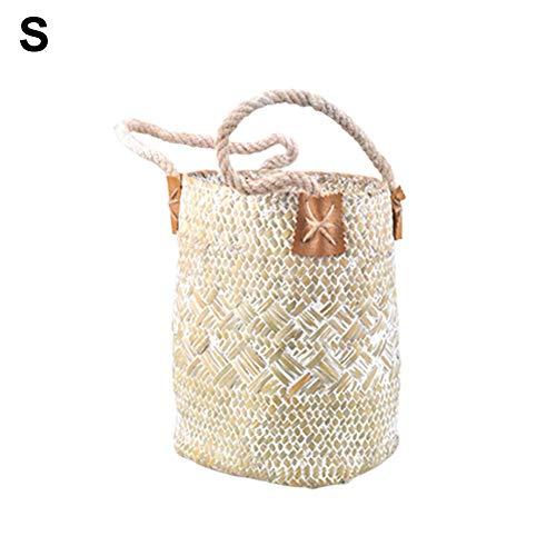 Strand-Bambustasche - Natürliche Gewebte Seegras Tote Bauch Korb - Handtaschen Stroh Strandtasche - Aushöhlen Gewebte Tasche - Geeignet Für Urlaub Am Meer Freizeit, Strand Tourismus, Mode Essentials