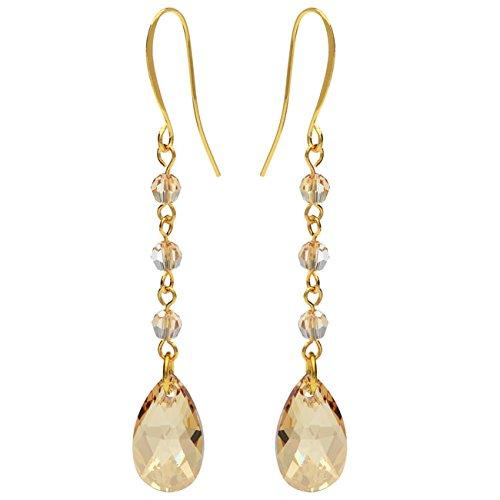 Swarovski Drop Earrings - Golden Shadow - Exclusive Beadaholique Jewelry Kit