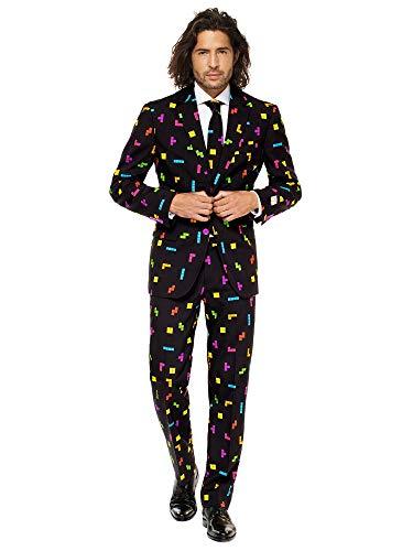 Opposuits Abschlussball kostüme für Herren - Mit Jackett, Hose und Krawatte mit Festlichen Print (Tetris Kostüm)