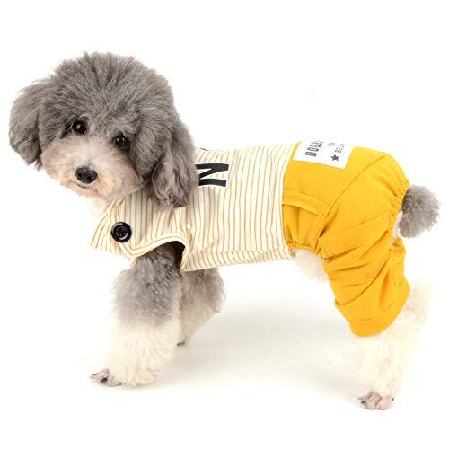 Ranphy Hundekostüm aus Baumwolle für kleine Hunde, gestreift mit Hose, süßer Buchstaben-Druck, ()
