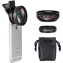 Mactrem Lentes de Movíl Ángulo Amplio Ojo de Pez de 3 en 1 Clip-On con lente angular/ojo de pez para iPhone6/6s 12.5X Super Macro Lens + 0.45X Wide Angle Lens para iPhone 7 / 7 Plus / 6 / 6 Plus / 5S / 5, Samsung Galaxy S6 / S6 Edge / S5, etc