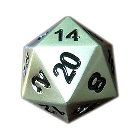 Single Metal d20 Die in Brushed Aluminum Finish by DnD Dice