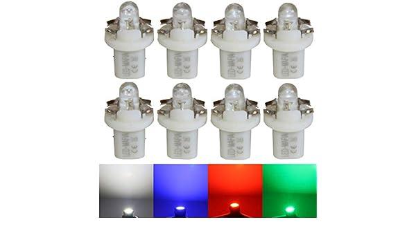 LED-Mafia 9X B85d Typ B8.5d Halogen Tachobeleuchtung Set Cockpitbeleuchtung wei/ß blau rot Cockpit b gr/ün