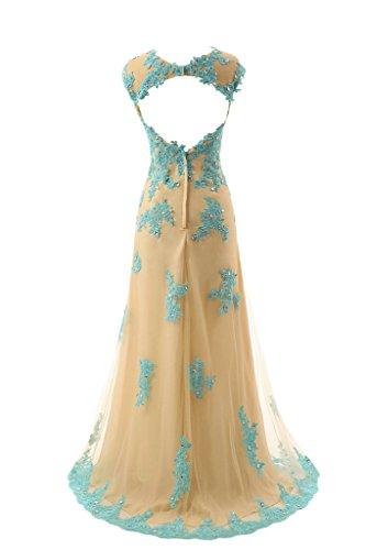 Sunvary una linea Jewel collo senza maniche lunghe Backless abito da sera Vestaglia sera Oro e Blu
