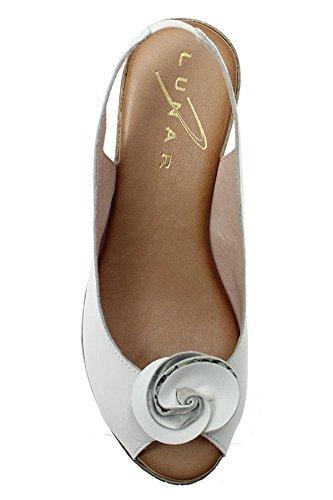 Fantasia Boutique jln071 SALVADOR FEMMES CUIR GEL CONFORT fleur bout ouvert compensé sandales Blanc