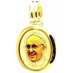 Pegaso Gioielli - Pendentif en or jaune 18 ct médaille image « Papa Francesco » - Pendentif religieux homme femme
