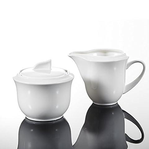 Malacasa, Series Carina, 3-Piece Ivory White Porcelain China Ceramic Sugar