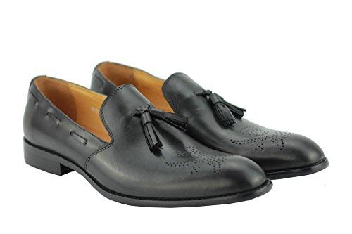 Veste Noir en Cuir Véritable Marron Avec Smart Casual Flâneur mod Conduite Rétro Chaussures à enfiler Noir
