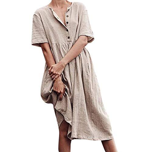 Yvelands Damen T-Shirt Kleid O-Neck Button Pure Color Kurzarm Baumwolle und Leinen Leichtes Kleid(Beige,M)