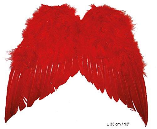 Karneval Klamotten Federflügel rot Flügel rot Teufel Flügel klein Halloween Karneval