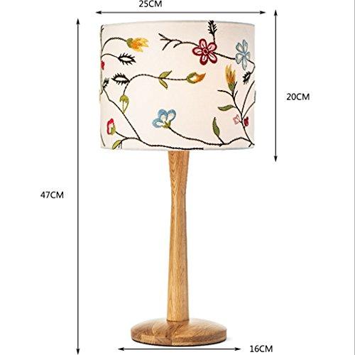 Honghao Nordic Tischlampe Schlafzimmer Nachttisch Kreativ Wohnzimmer Pastoralen Einfachheit Moderne Tischlampe Warm Nachttischlampe Holz Tischlampe (Farbe : A)