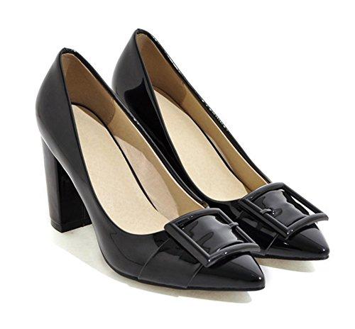 Aisun Damen Fashionable Einfarbig Riemen Lackleder Pointed Toe Pumps Schwarz