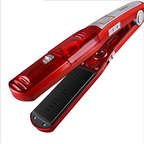 Dampf-Haar-Straightener, Automatic Straight Hair Comb Electric Ceramic Curling Iron, Digital Liquid Crystal Display + Five Adjustable Temperatur geeignet für alle Arten von Haie, Rot -