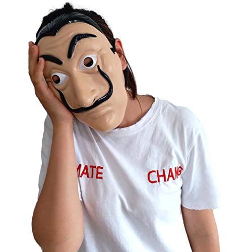 rwachsene Cosplay La Casa de Papel Dali Masken Salvador Dali Gesichtsmaske-Kunststoff,Beige-OneSize ()
