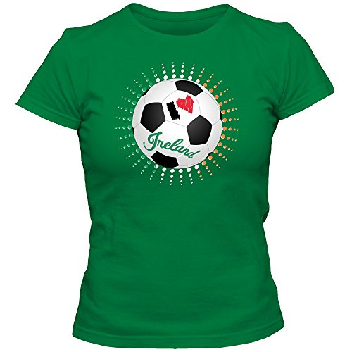Shirt Happenz Irland WM 2018#6 T-Shirt | Éire | Fußball | Damen | The Boys in Green | Trikot | Nationalmannschaft, Farbe:Hellgrün (Kelly Green L191);Größe:L -