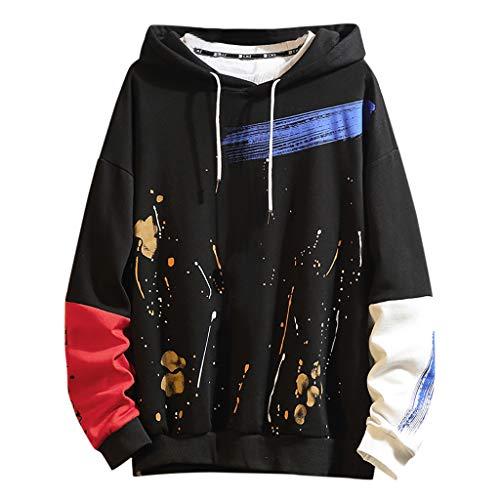 Xmiral Kapuzenpullover Herren Hippie Gekritzel Buchstabe Hoodie Sweatershirt Tops Pullover Patchwork Sweat Hood Sweatjacke Kapuzensweater(b Schwarz,L)