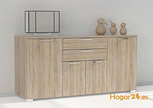 Hogar24- Aparador buffet salón comedor 4 puertas + 2 cajones, color Roble, medidas: 160 x 86 x 45 cm de fondo