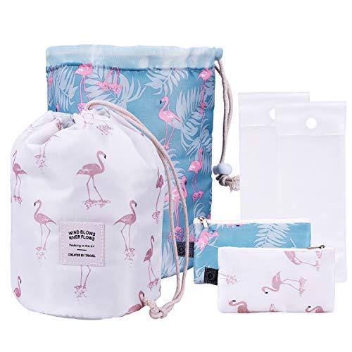 OZUAR 2 Stück Kosmetiktasche Kosmetikbeutel Wasserdichte Makeup Tasche Multifunktion Kordelzug Reise Kulturtasche + Mini Beutel + transparente PVC Beutel (Flamingo, Weiß und Blau) (Kordelzug Klar Taschen)