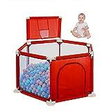 WLAN Recinzione per Bambini Sei Lati Sicurezza Recinzione Colorata Sfera Piscina Tenda Game House Play Fence Kids Baby Indoor Outdoor Game Box (Non Include la Palla),Rosso
