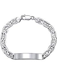 SILVEGO Silver Men's Top Navy Blue ID Bracelet 925Sterling Silver