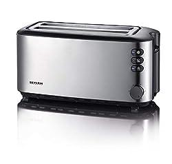 Severin Automatik-Toaster, 2 Langschlitzkammern, Für bis zu 4 Brotscheiben, 1.400 W, AT 2509, edelstahl/schwarz
