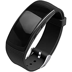 OenFoto Compatible Samsung Gear Fit2 Pro Correa, Fit 2 Pulsera Deportiva Silicona Suave Reemplazo Sport Band para Samsung Gear Fit 2 SM-R360 Smart Watch -Negro