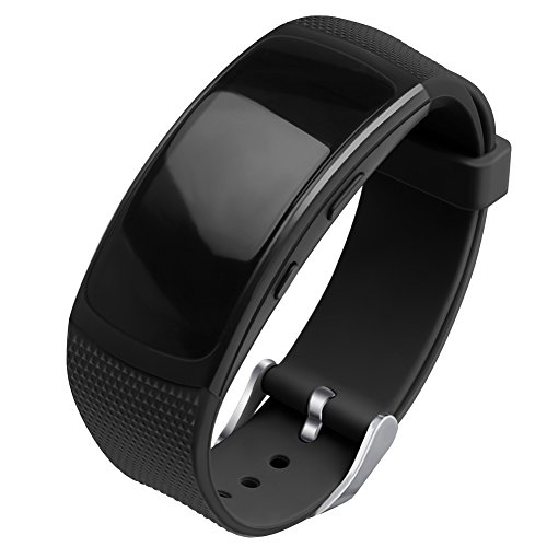 OenFoto Bracelet Compatible Gear Fit2 Pro/ Fit2, Bande de Remplacement en Silicone pour Samsung Gear Fit 2 Pro SM-R365/ Gear Fit2 SM-R360 Smart Watch-Nouveau Noir