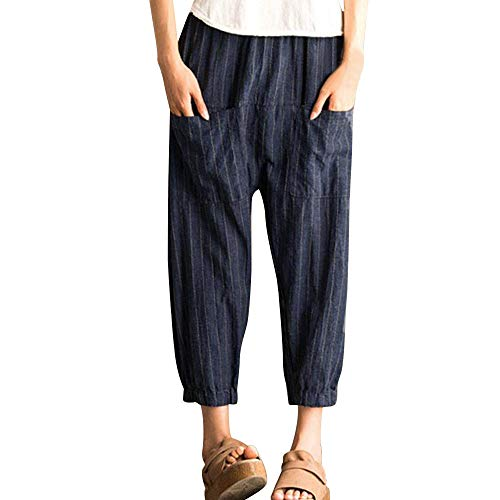 WOZOW Haremshose Hippie Hosen Damen Streifen Gestreift Strip Leinen Bettwäsche Baumwolle Casual Loose Lose Long Lang High Waist Anime Hippie Tapered Saggy Trousers Stoffhose Freizeithose (XL,Marine) (Old School Elefant Kostüm)