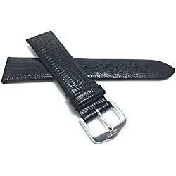 12mm, Slim, Black, Glossy Finish, Womens' Genuine Leather Watch Band Strap, Comes in Black, Brown, Tan or Burgundy