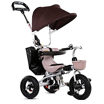 RUMIAO Baby Tricycle, Removablefree Installation Pushchair, Can Ride Outdoor Tricycle, Adjustable Footrestpush Handle, Safety Rear Double Brake,Brown