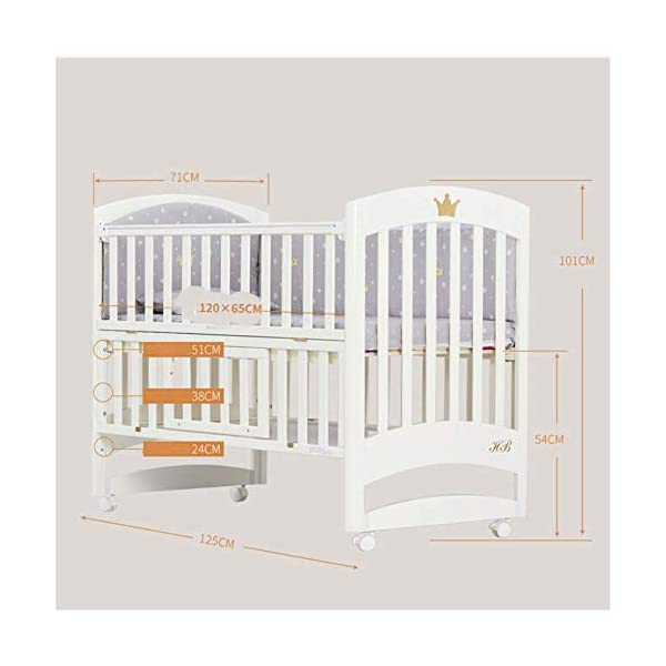 Solid Wooden Baby Cot,toddler Bed, Multifunctional White Cradle Bed Newborn Stitching, Height Adjustable HXYL Package contains bed, mosquito net, mosquito net pole, moving caster, kit Split panel for connecting to a large bed Three heights are adjustable to suit your child's different needs 7