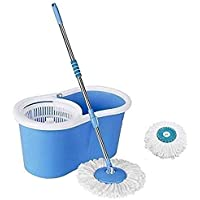 Ashley Easy Magic Floor Mop 360 Degree Bucket 2 Heads Microfiber Spin Spinning Rotating Head (Color May Vary)