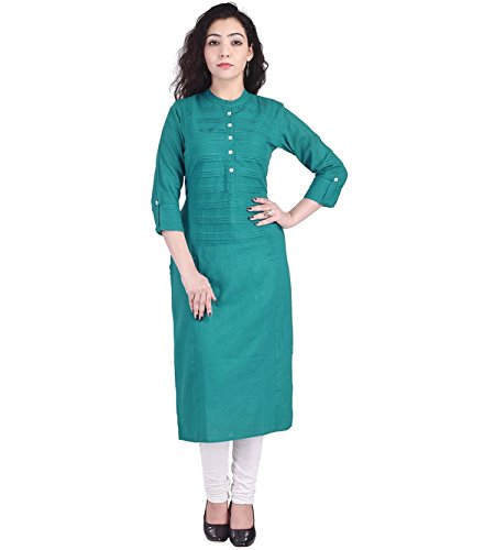 Ahira Casual,Solid Self Design Women Kurti (Medium, Rama Green)