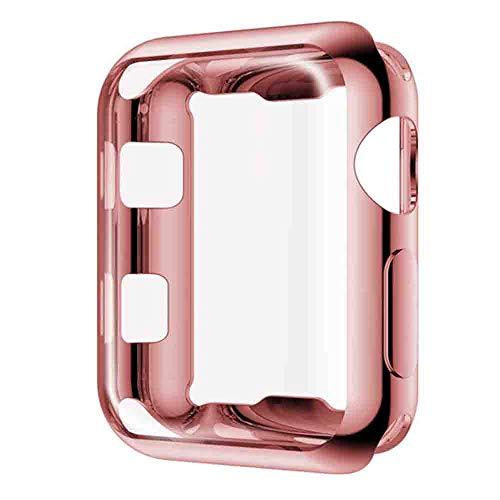 Layeri Hülle für Apple Watch 38mm 42mm TPU Wasserdicht Panzerglas 3D Volle Abdeckung Touch Kanten Schutzfolie für iWatch Series 3 2 1 38mm 42mm Sport Edition Nike+ (38MM, Rose)