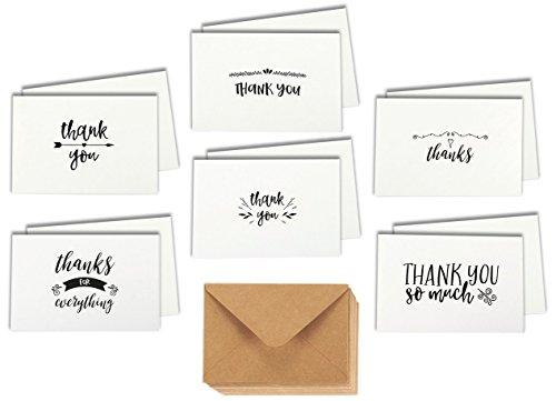 Dankeskarten Thank you (48er Set) - 6 verschiedene Designs im handgeschriebenen Stil - Danksagung nach Hochzeit oder um Mitarbeiter zu loben - Inkl. Umschläge aus Kraftpapier - 10 cm x 15 cm