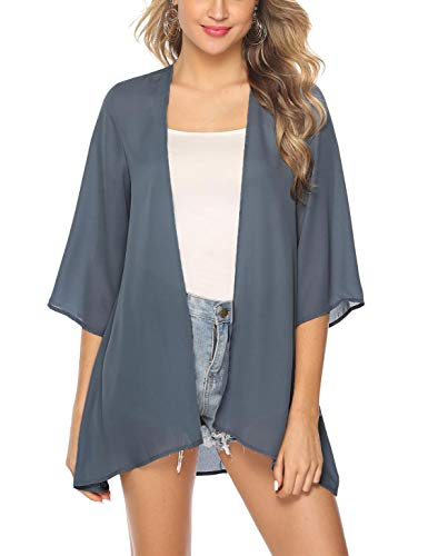 Cardigan Bluse (Aibrou Damen Sommer Boho Strand Kimono Florale Tops Cardigan Chiffon Shawl Bluse Beachwear Bikini Cover up Leichte Jacke Oberteil Weinrot)