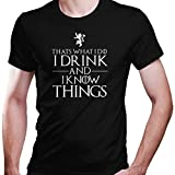 DragonHive Herren T-Shirt Game of Thrones Thats What i do i Drink and i Know Things, Größe:L, Farbe:Schwarz