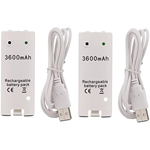 Fosmon® (2 PAQUETE) Nintendo Wii Mando a distancia de alta capacidad de 3600mAh reemplazo del Li-ion recargable Batería con cuerda de carga del cable para Nintendo Wii Controller (Blanco) - Fosmon Empaquetado Al Por