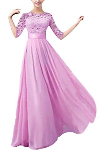 9fa941426c52 BoBoLily Vestito Cerimonia Donna Lungo Elegante Pizzo Cucitura Chiffon Abito  Da Sera Mezza Manica Girocollo Vita